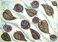 "Winter snails and Leaf 9""x12"" $70.00"