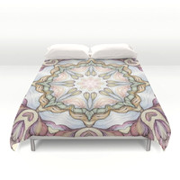 purple-flowers-hand-drawn-and-kaleidoscope-mandala-duvet-covers
