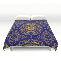 golden-mandala-pattern-on-the-dark-blue-background-duvet-covers
