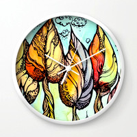 autumn-grove-hand-drawn-watercolor-and-ink-drawing-wall-clocks