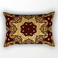 golden-flowers-on-the-brown-background-rectangular-pillows