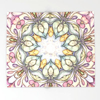 vintage-flowers-hand-drawn-and-kaleidoscope-mandala-throw-blankets