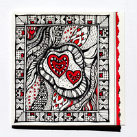 "Red Hearts Greeting Card 5,5""x5,5"" $28.00"