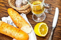 baguette and tea with lemon for breakfast