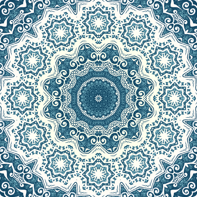 Creamy and blue mandala pattern