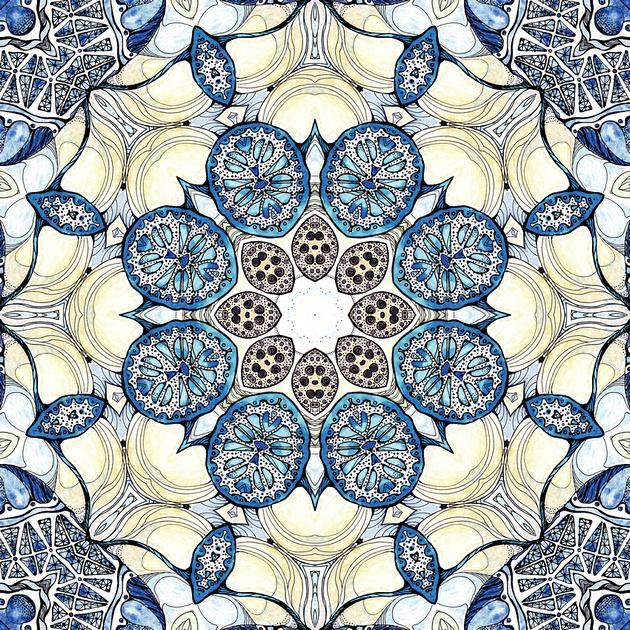 Blue fruit mandala