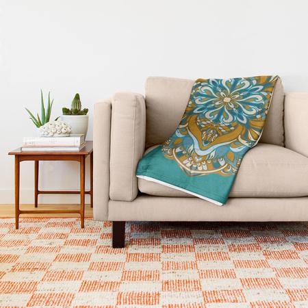 golden-green-vector-mandala-throw-blankets