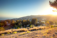 Panoramic view of meadows, hills and sky in Malibu  California